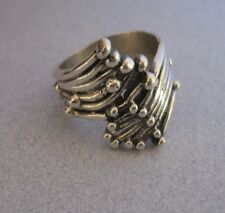 Mexican 925 Sterling Silver Taxco Oxidised Modern lines Beads Dots Ring Size 7