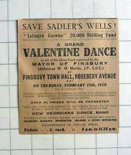 1930 Save Sadler's Wells, Come To Grand Valentine Dance Finsbury Town Hall