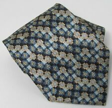 ERMENEGILDO ZEGNA BLUE BLACK GEOMETRIC TILE SILK MEN'S TIE ITALY