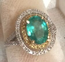2.35CTW NATURAL COLOMBIAN EMERALD AND REAL DIAMONDS RING 14K SOLID 2 TONE GOLD