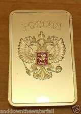 Russian Federation Gold Bar Ingot Hammer & Sickle Globe Emblem Badges Moscow PA
