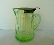 Anchor Hocking Green Depression Glass Syrup Pitcher Uranium Vaseline