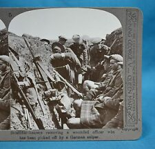WW1 Stereoview Stretcher Bearer Removing Wounded Officer German Sniper Realistic