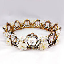 Beautiful Antique Brass Shell Crystal Wedding Bridal Party Pageant Prom Crown