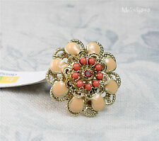 BOHM Peony Flower Disc Adjustable RING Vintage Gold Peach& Coral Swarovski BNWT