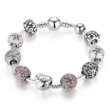 20cm DIY European Love Silver Pink Crystal Charm Clasp Bracelet with All Charms