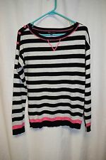 Womens Sweater Shirt Size M By T/O Black/Gray Striped Long Sleeve Pull Over