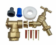 25mm MDPE Outside Tap Kit | Brass Wall Plate, Double Check Valve, Hose Fittings