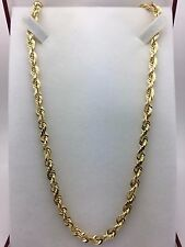 "14K Solid Yellow Gold 30"" Rope Chain Diamond Cut Link Chain Necklace 75.9 g 6 mm"