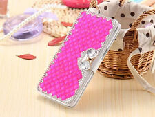 Luxury Bling Rhinestone Diamond Bow Leather Flip Wallet Case Cover For Sony S001