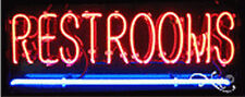 "NEW ""RESTROOMS"" 24x10x3 UNDERLINED REAL NEON SIGN W/CUSTOM OPTIONS 12144"