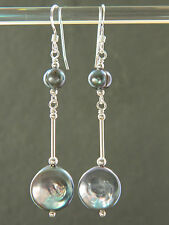 Peacock / Pewter Grey Coin & Baroque Freshwater Pearls, Sterling Silver Earrings