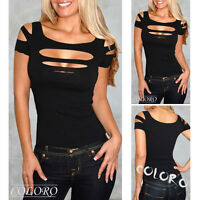 NEW black Bust hole exposure Vest Tank women sexy Tops club wear Blouse Shirt