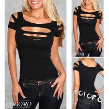 Exposure noir Buste hole Débardeur femmes sexy Haut vêtement club Blouse Chemise