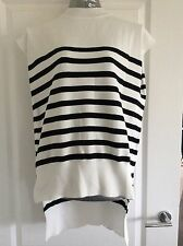M&S Collection Range Size 14 Cream And Dark Striped Top With Dip Back