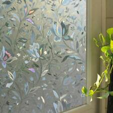 45x100cm Recyclable Frosted Glass Home Window Film 3D Flower Sticker Decorative