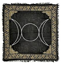 "NEW Gold Silver Triple Moon on Black Altar Cloth 36"" x 36"""