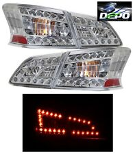 LED Tail Lights Chrome Housing 4 Pcs Set by DEPO Fits Nissan Sentra 2013-2016
