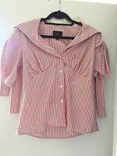 Vivienne Westwood Anglomania Red White Stripe Top Sailor Shirt Button Blouse 44