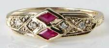 DIVINE DAINTY 9K GOLD ART DECO INSP RUBY & DIAMOND RING
