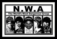 ICE CUBE & MC REN & EAZY E & YELLA & DR DRE - NWA SIGNED FRAMED PP POSTER PHOTO