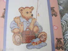 JANLYNN COUNTED CROSS STITCH Bear Collection 105-27 Fishing 5 x 7 Kit With Frame