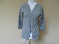 KAUFMANFRANCO 021 GRAY GREY WOOL BLEND STRETCHY DOUBLE ZIPPER TOP XS