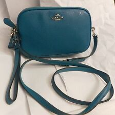 NWT Coach 65547 Crossbody Clutch Messenger Bag Pebble Leather Turquoise