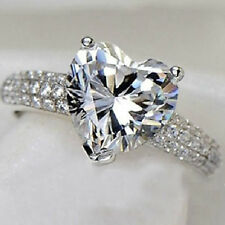 2016 Womens White Sapphire Zircon Silver Filled Heart Bridal Wedding Ring Size 7