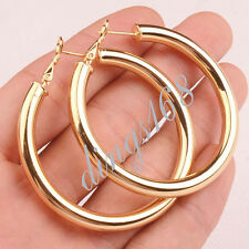 18K Yellow Gold Filled 51mm/2 inch Shiny Tubular Round Hoop Earrings Jewelry E7