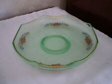 Rare Green Depression Serving Bowl /Dish with red hand painted flowers-Gold Trim
