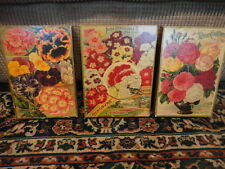 Seed Pack Laminated Mounted to boards Self Sitter or Hang (3) Vintage