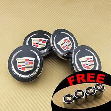 4 BLACK FINISH with COLOR LOGO WHEEL CAP HUB CENTER for CADILLAC US SELLER