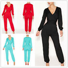 Womens Bodycon Sexy V Bandage Long Sleeves Romper Clubwear Dresses Jumpsuits SML
