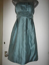 MONSOON BEAUTIFUL GREEN SILK STRAPLESS DRESS SIZE 14