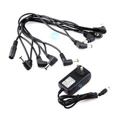 US DC 9V 2A Power Adapter + Guitar Effect 8 way Daisy Chain Multi Plug Cable Kit