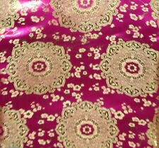 "FUCHSIA /GOLD FLORAL METALLIC BROCADE 60"" WIDE 1 YARD"