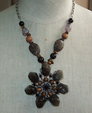 Silvertone Chunky Faux Stone Black Rhinestones & Beaded Necklace ~ Unsigned