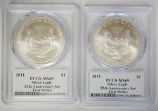 Two (2) 2011 $1 American Silver Eagle 25th Ann PCGS MS69 First Strike Mercanti