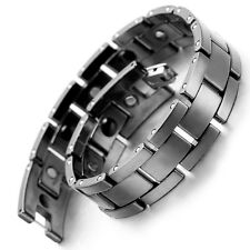 "Tungsten Magnetic Hematite Mens Bracelet, Black 8.2"" B1377"