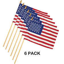 "6 Pack - Mini American Flag on Stick  8 x 12"" US Small United States of America"
