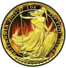 2015 Burning UK Britannia- 1 Oz Fine Silver Coin - Ruthenium And 24K Gold....