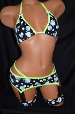 Exotic Dancer Stripper Sexy UV Glow Garter Thong Set ~ Dancewear