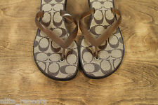 COACH Carin Brown Thong Flip Flop Kitten Heels Classic Signature Sandals 7.5