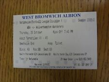 25/10/2001 Ticket: West Bromwich Albion v Wolverhampton Wanderers  . Thanks for