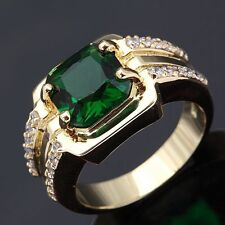 Fashion Size 10 Emerald Cut Emerald Mens Luxury 18k Gold Filled Engagement Rings