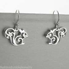Squirrel Earrings - 925 Sterling Silver - Dangle French Wire Animal Woodland NEW