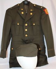 WWII ARMY TRANSPORTATION OFFICERS CHOCOLATE DRESS UNIFORM TUNIC & CAP NAMED/DATE