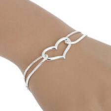 Silver Heart Love Pendant Box Chain Bracelet Pretty Jewelry Women's