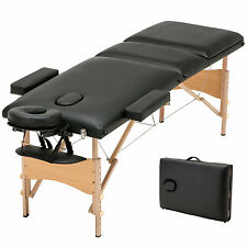 "Black 84""L Massage Table 3 Fold Portable Facial SPA Bed Tattoo w/Free Carry Case"